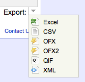 New feature: Export Excel, QIF, OFX, OFX2, CSV, or XML from